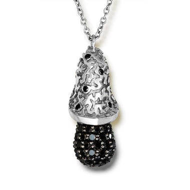 Black Diamond Gold Acorn Pendant On Chain