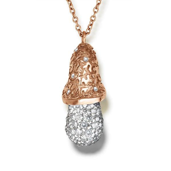 Gold Acorn Pendant with  White Diamonds On Chain