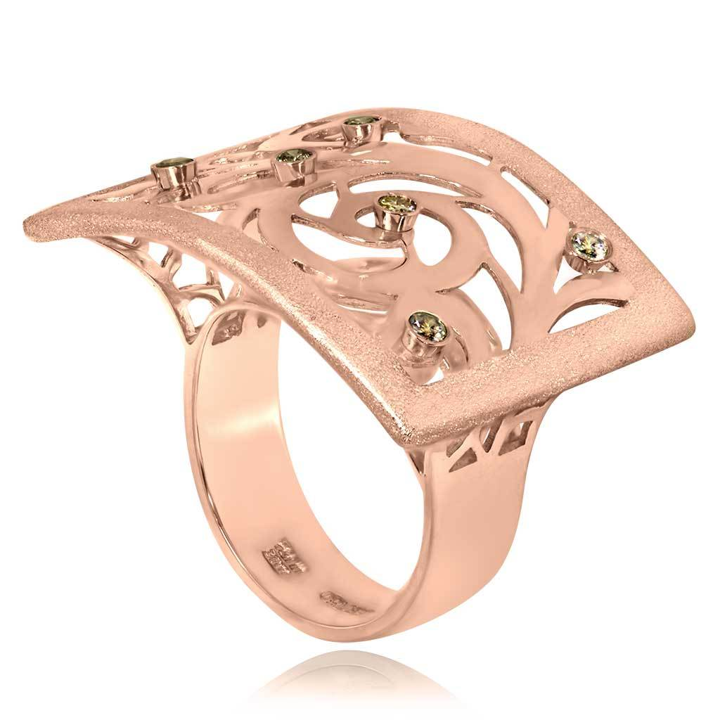 Gold Ornament Contrast Texture Champagne Diamonds Ring