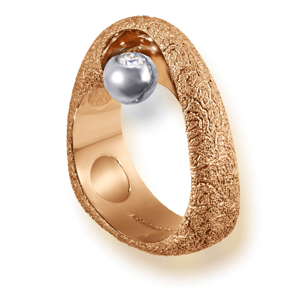 Rose Gold Modern Art Ring with Diamond