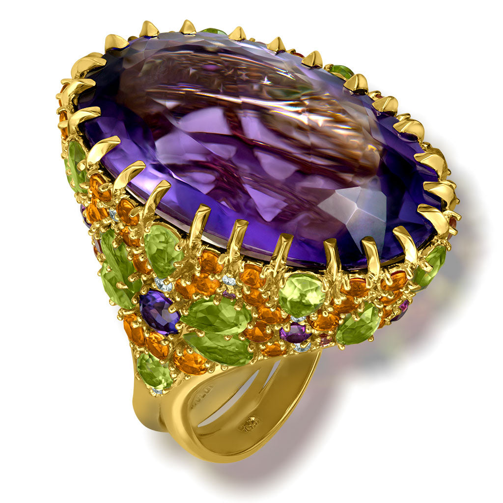 Amethyst Sapphire Peridot Garnet Diamond Blossom Ring In Yellow Gold