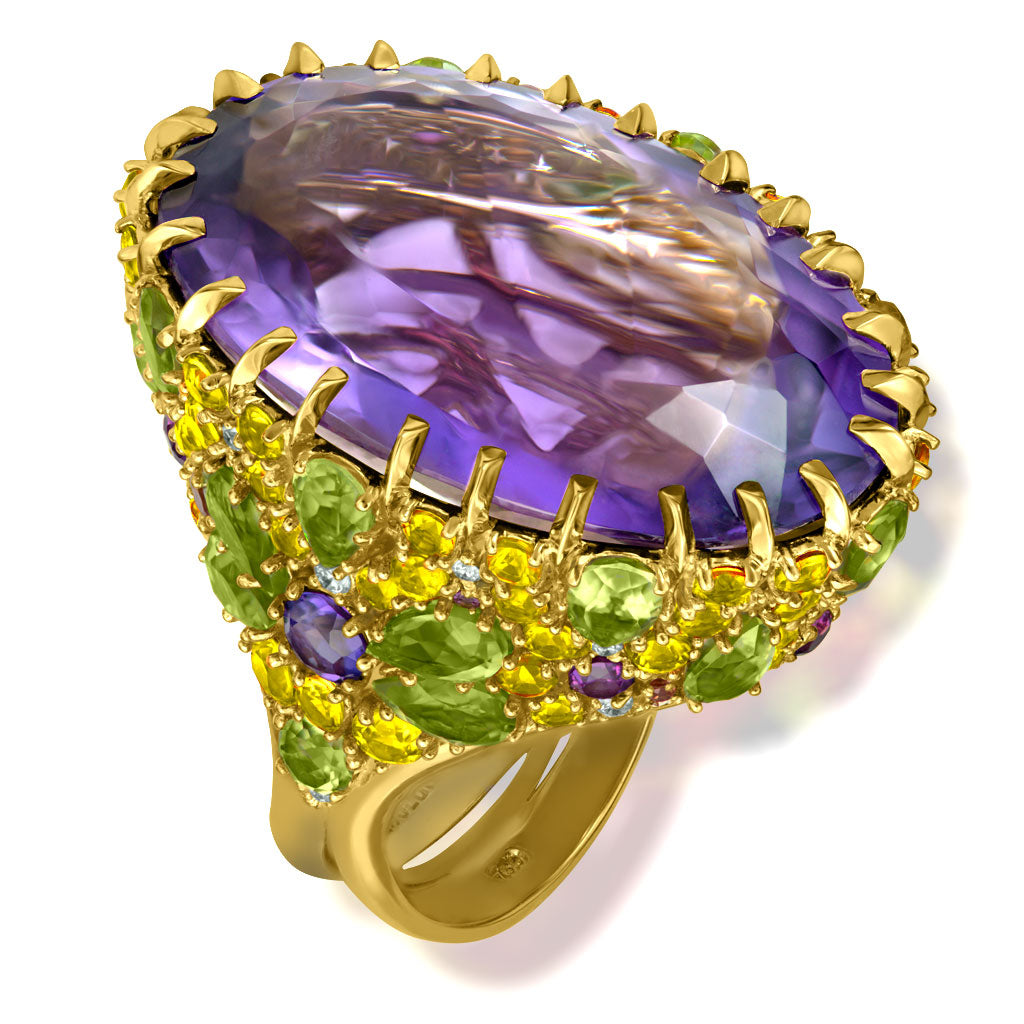Gold Blossom Ring with Light Amethyst & Peridot