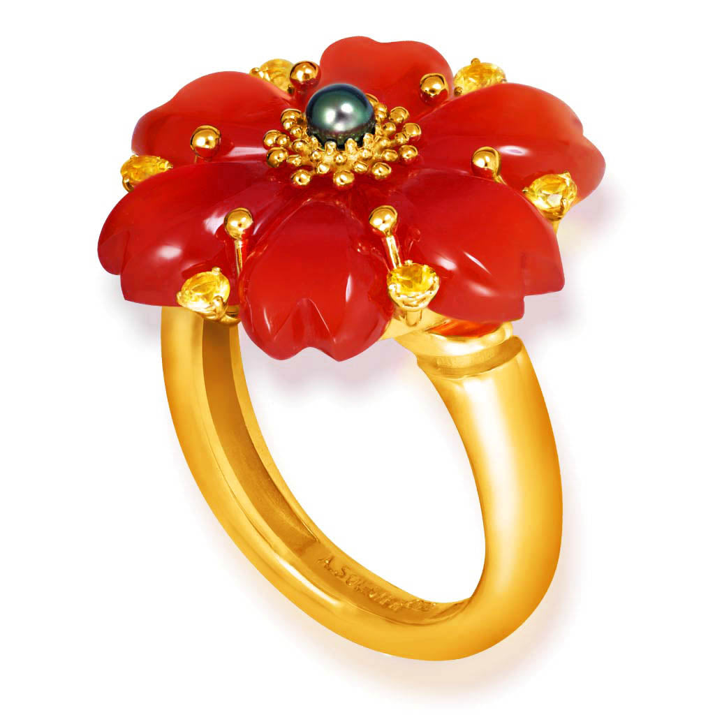 Gold Blossom Ring with Carnelian & Sapphire