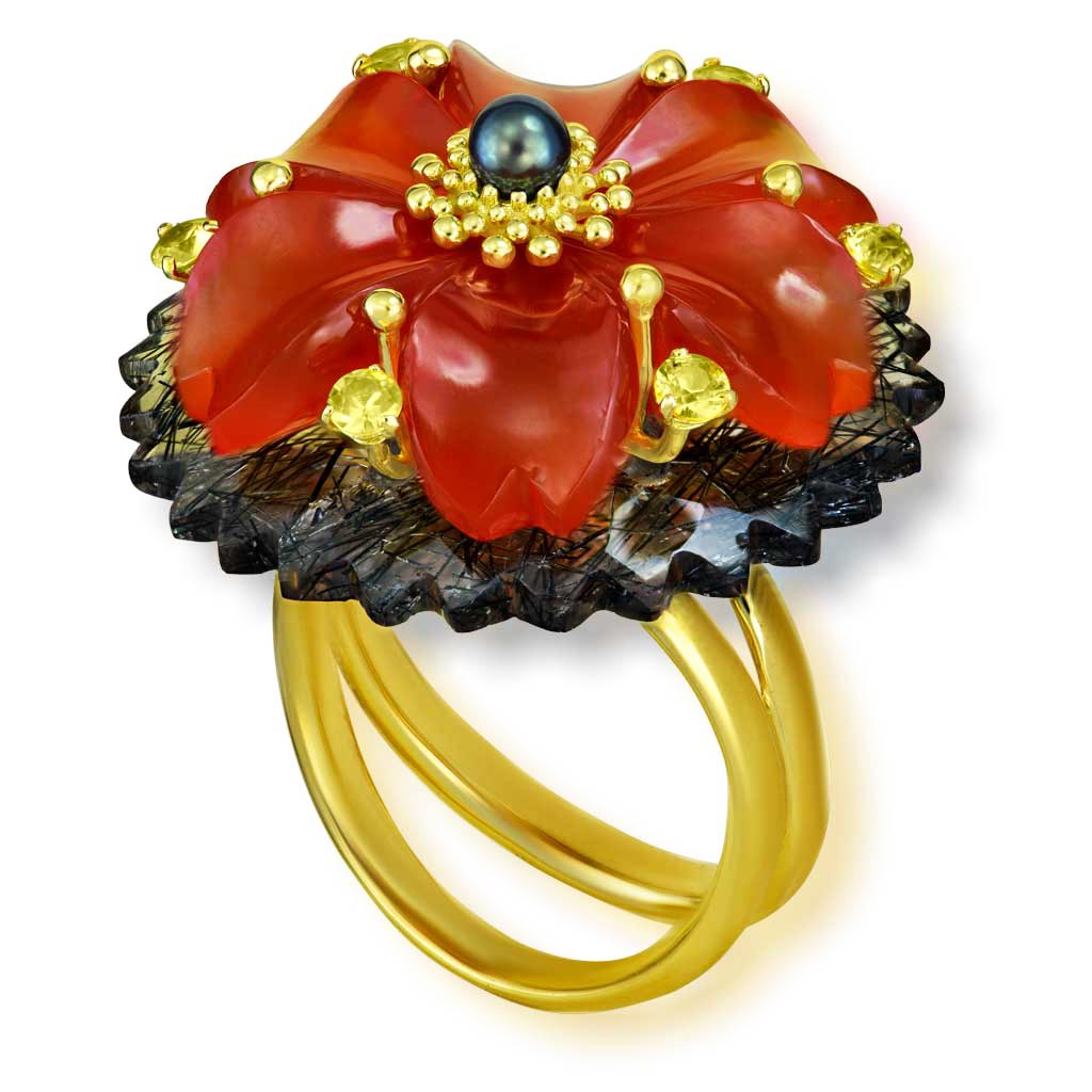 Gold Blossom Ring with Carnelian & Rutilated Quartz
