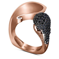 Gold Calla Ring with Black Diamonds
