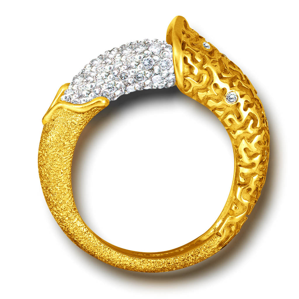 Gold Acorn Ring with White Diamonds