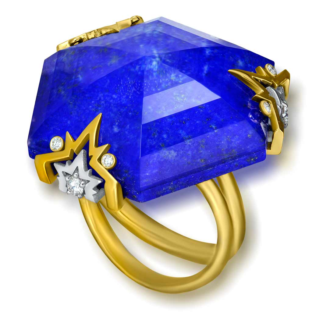 Gold Denim Ring with Lapis Lazuli & Diamonds