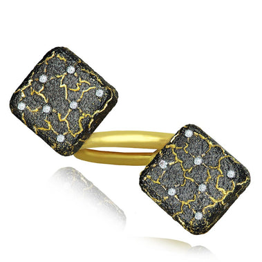 Gold Mushroom Lava Ring with Diamonds