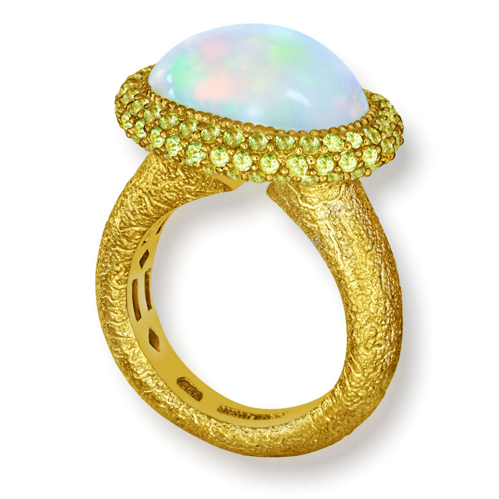 Opal And Peridot Cocktail Ring In Yellow Gold