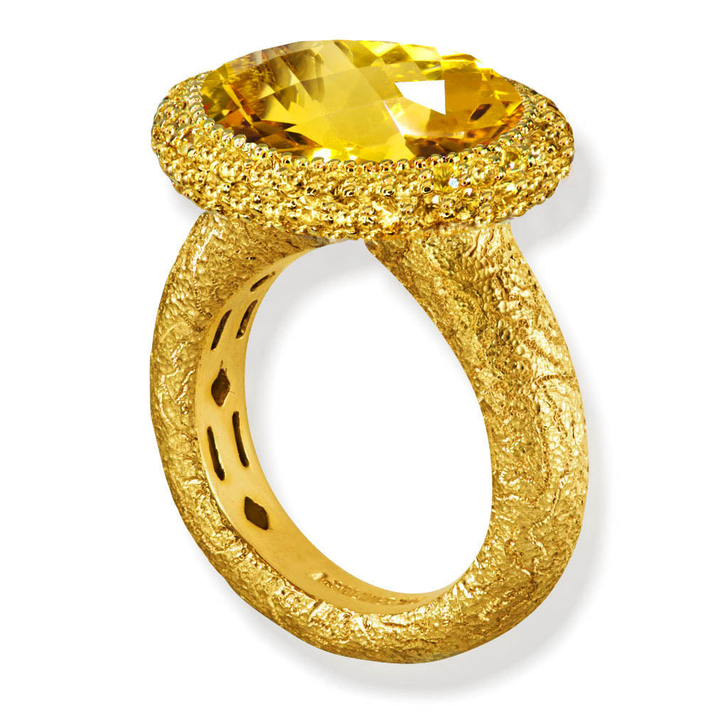 Gold Cocktail Ring With Honey Citrine