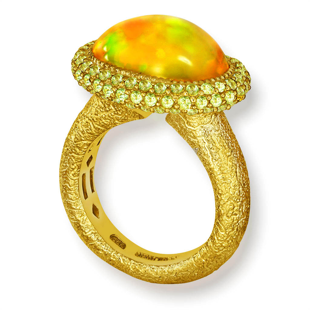 Gold Cocktail Ring with Golden Opal & Peridot