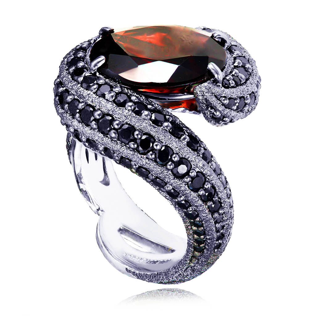 Gold Twist Ring With Garnet & Black Spinel