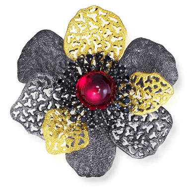 Red Quartz Spinel Sterling Silver Gold Rhodium Coronaria Brooch Pendant
