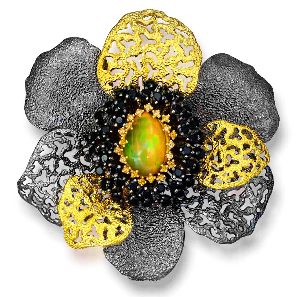 Silver Coronaria Brooch Pendant with Opal & Spinel