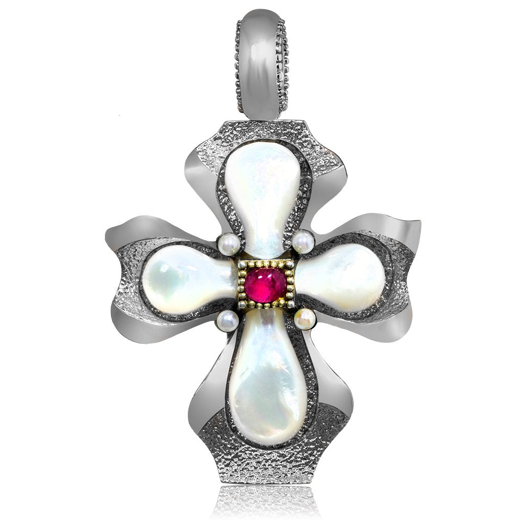 Silver Cross Pendant with Mother of Pearl and Ruby