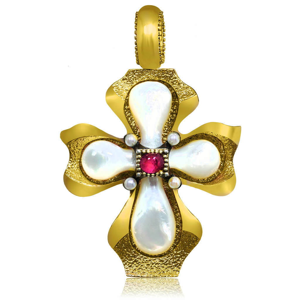 Mother of Pearl Ruby Sterling Silver Gold Cross Pendant
