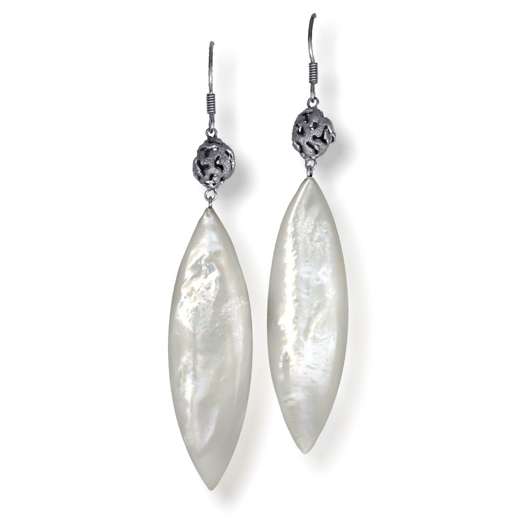 Silver Meteorite Drop Earrings with Mother Of Pearl