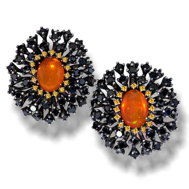 Sterling Silver Astra Earrings with Fire Opal Garnet Black Spinel