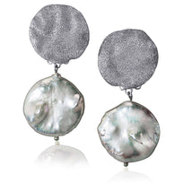 Silver Moneta Earrings with Natural Coin Pearl