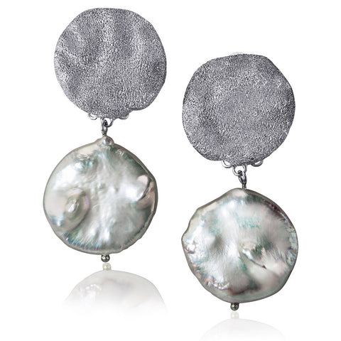 PEARL, STERLING SILVER AND PLATINUM MONETA EARRINGS