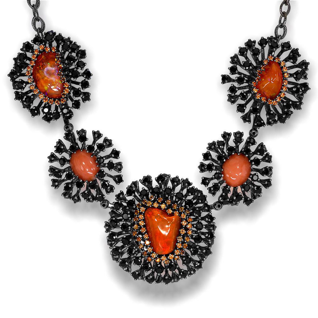 Fire Opal Coral Diamond Spinel Sterling Silver Necklace