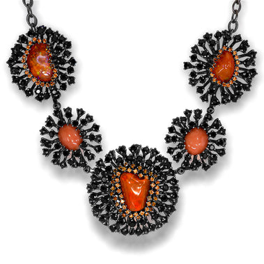 Sterling Silver Astra Necklace with Fire Opal Coral Garnet Spinel