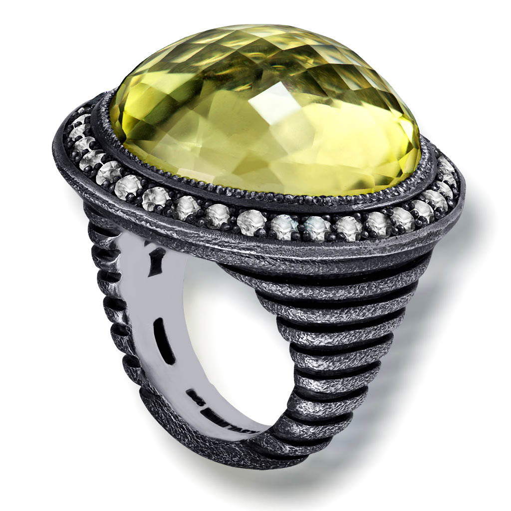 Silver Symbolica Ring with Lemon Quartz & Diamonds