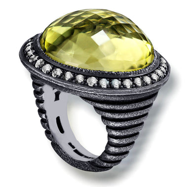Lemon Quartz Diamond Oxidized Sterling Silver Symbolica Ring