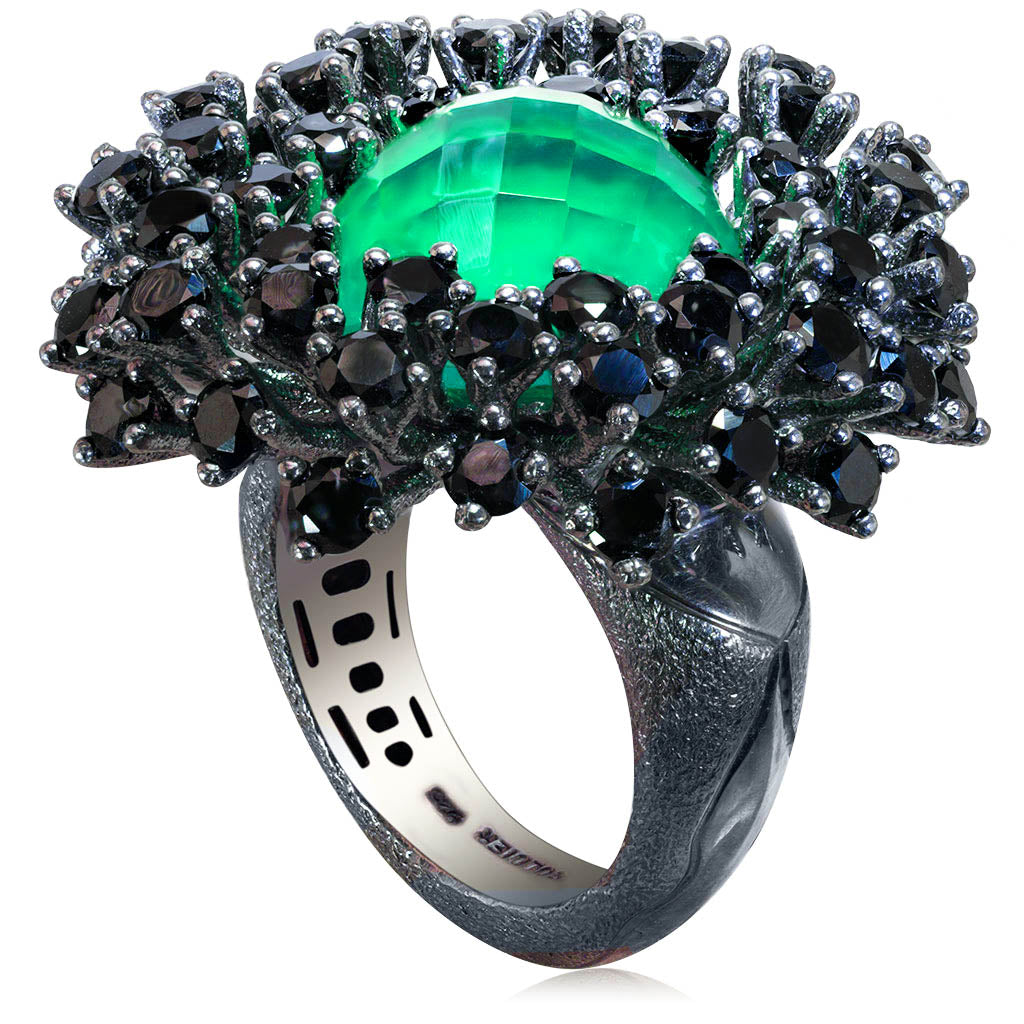 Silver Astra Ring with Green Agate Quartz & Spinel