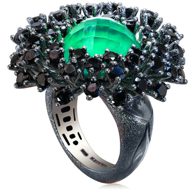 Sterling Silver Astra Ring with Green Agate Quartz Black Spinel