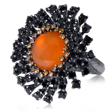 Sterling Silver Astra Ring with Fire Opal Garnet Black Spinel