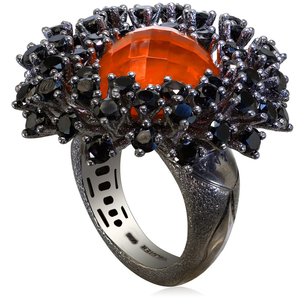 Silver Astra Ring with Red Agate Quartz & Black Spinel