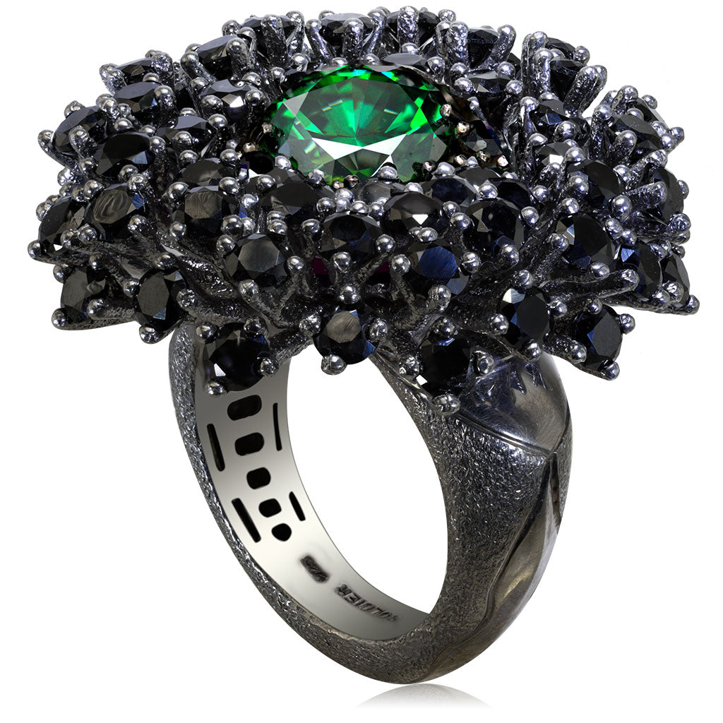 Silver Astra Ring with Swarovski Green Crystal & Spinel