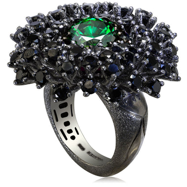 Sterling Silver Astra Ring with Swarovski Green Crystal Black Spinel