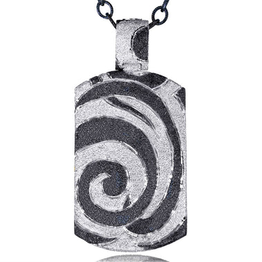 Sterling Silver, Platinum Swirl Tag Pendant Necklace On Chain