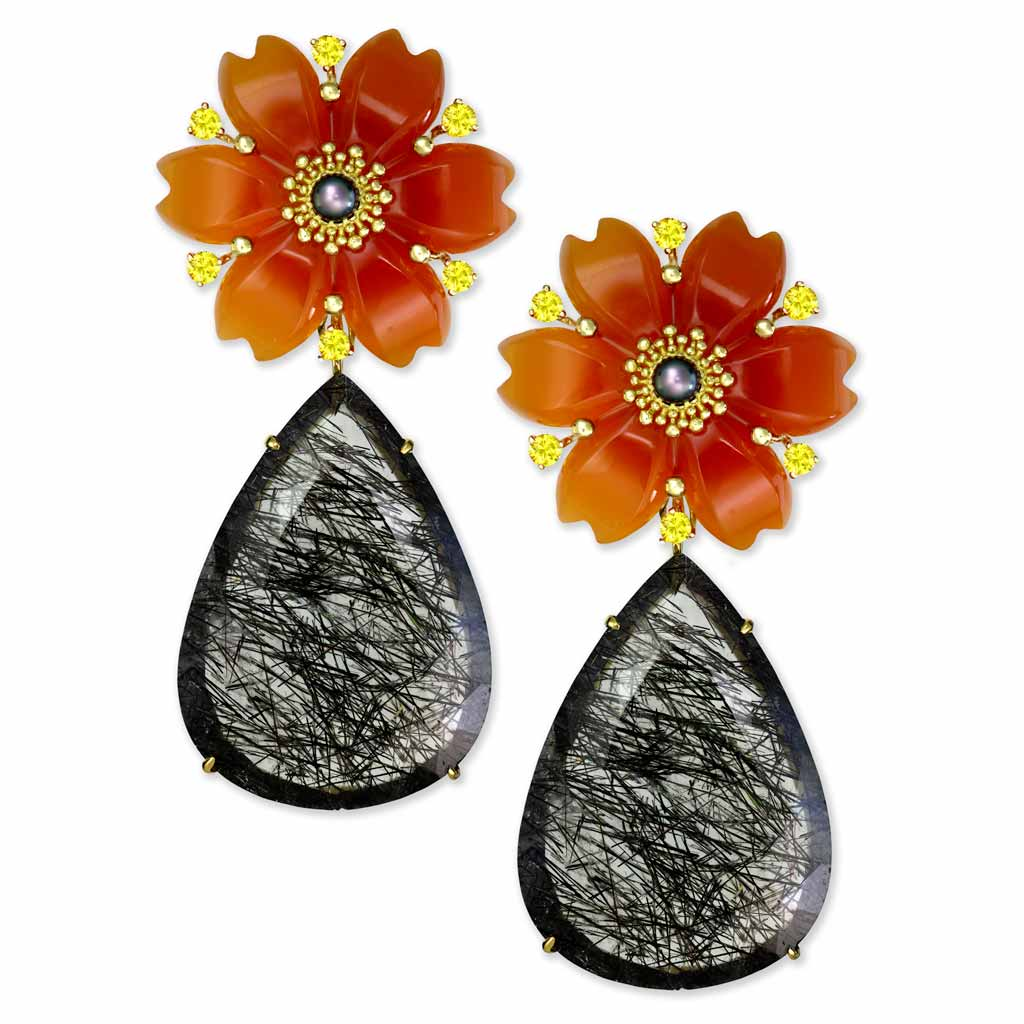 Gold Blossom Convertible Pear Earrings with Carved Carnelian