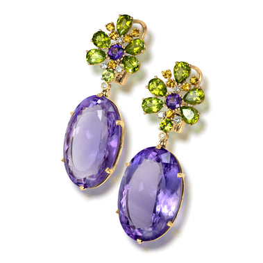 Amethyst Peridot Sapphire Diamond Blossom Earrings In Yellow Gold