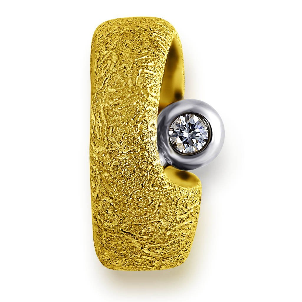 Yellow Gold Modern Art Ring with Diamond