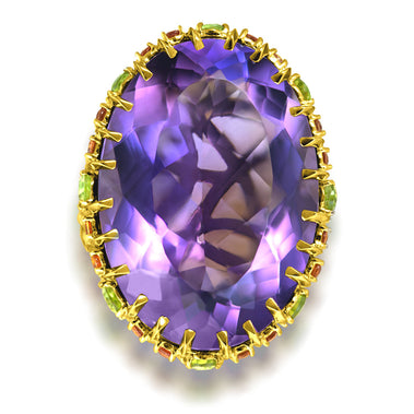 Amethyst Yellow Sapphire Peridot Garnet Diamond Blossom Ring In Yellow Gold