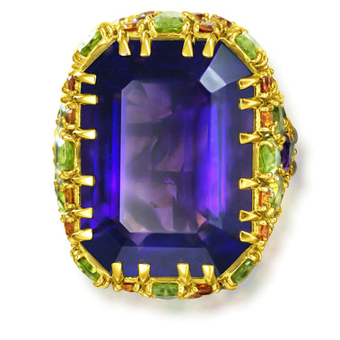 Amethyst Peridot Sapphire Garnet Diamond Blossom Ring In Yellow Gold