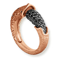 Gold Acorn Ring with Black Diamonds