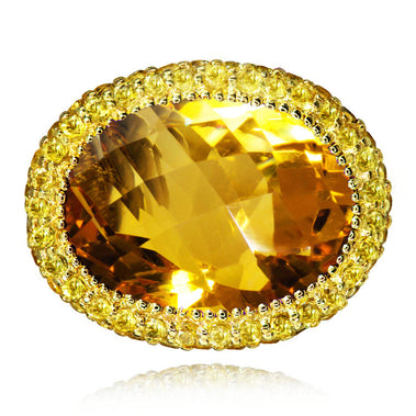 Citrine Cocktail Ring In Yellow Gold