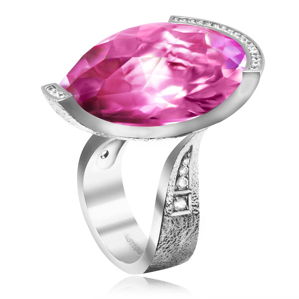 Gold Swan Ring with Pink Sapphire & Diamonds