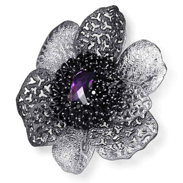 Sterling Silver Coronaria Brooch/ Pendant with Amethyst Black Spinel