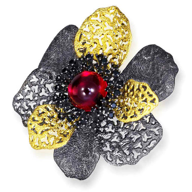Sterling Silver Coronaria Brooch/ Pendant with Red Quartz Black Spinel