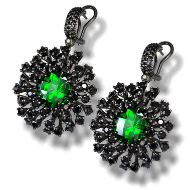 Swarovski Green Crystal And Black Spinel Astra Earrings In Dark Silver