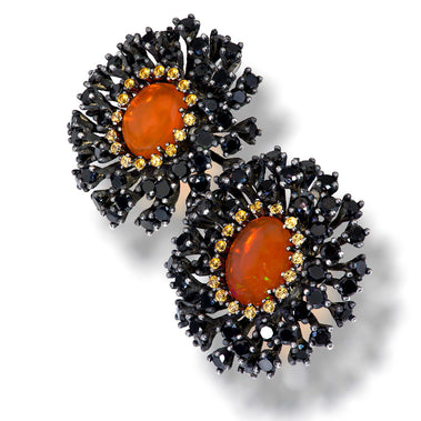 Fire Opal Garnet Spinel Sterling Silver Earrings
