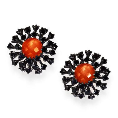Sterling Silver Astra Stud Earrings with Red Agate Quartz Black Spinel