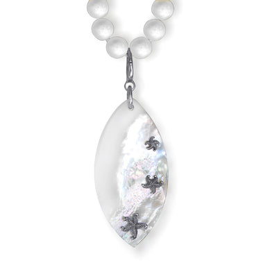 Mother Of Pearl White Coral Sterling Silver Platinum Meteorite Necklace