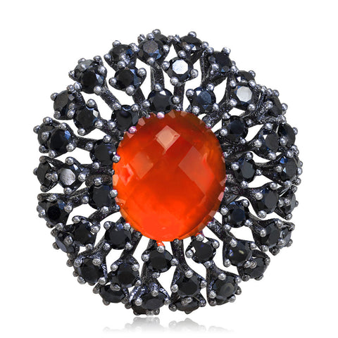 RED AGATE QUARTZ DOUBLET WITH BLACK SPINEL ASTRA RING IN DARK SILVER